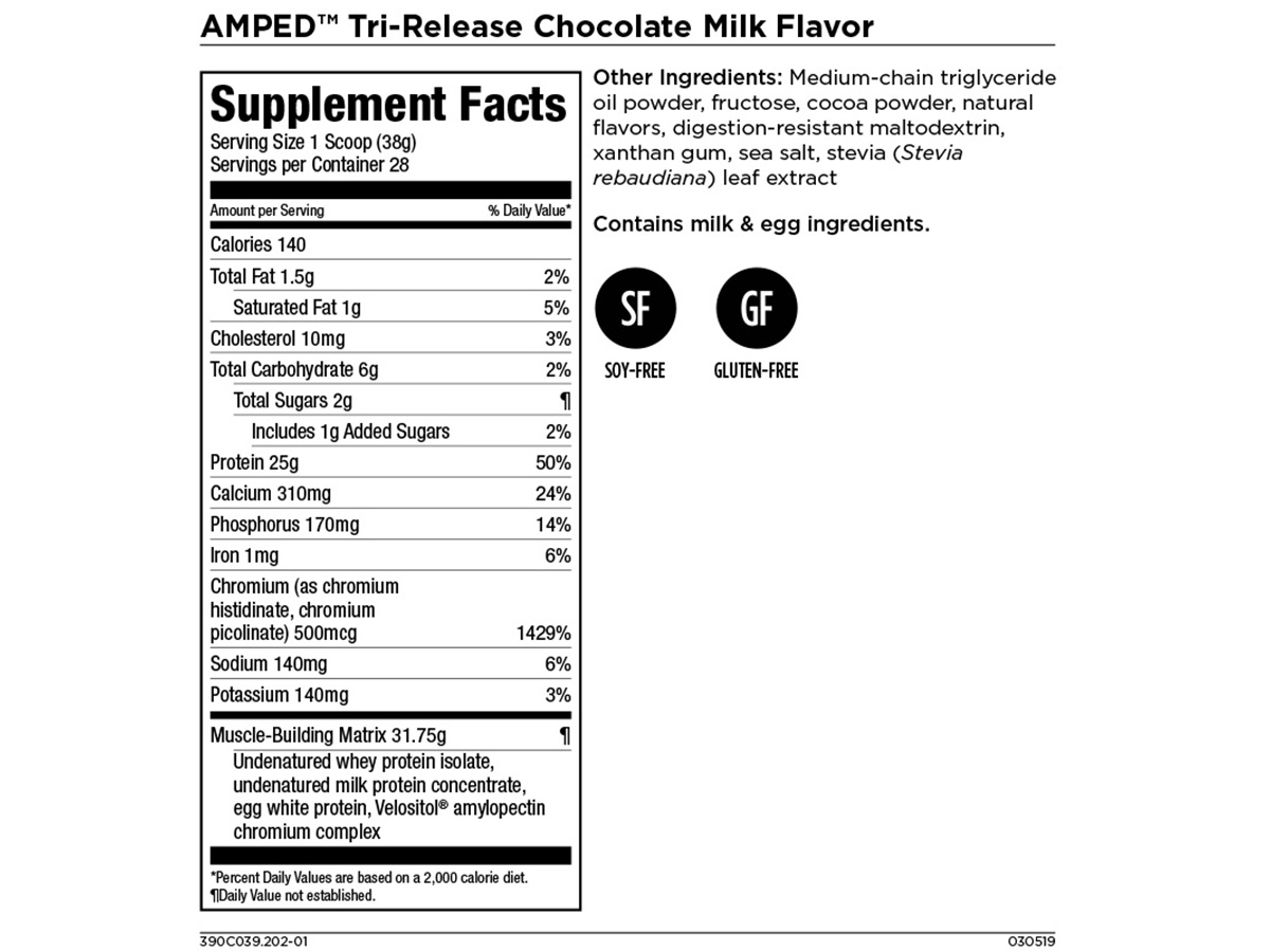 AMPED Tri-Release Protein - Builds Lean